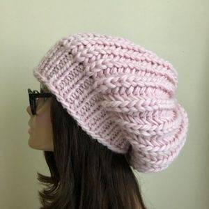Accessories - Pastel Pink Oversized Slouchy Beanie Wool